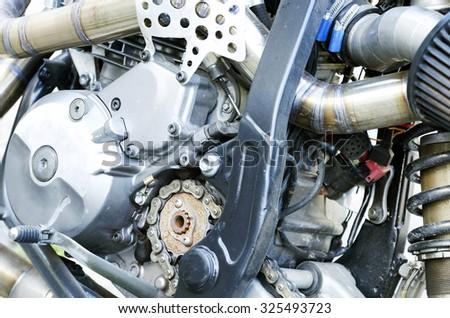 Dirt bike engine close up. - stock photo