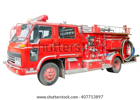 dirt old fire truck and close up equipments isolated on white. - stock photo