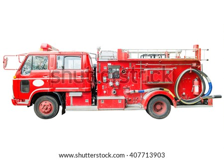 dirt old fire truck and close up equipments. Isolated on white. - stock photo
