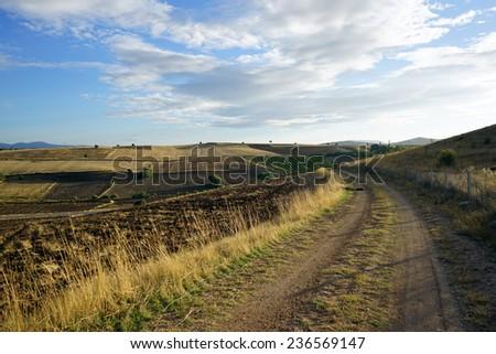 Dirt road and farmland in Turkey                                - stock photo
