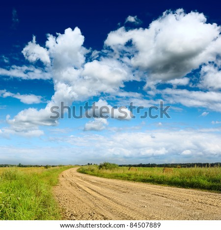 dirt road at the summer  beautiful day - stock photo