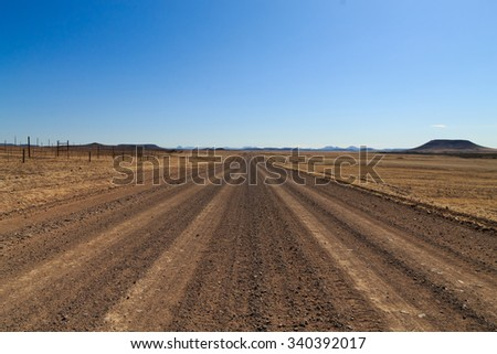 Dirt road from Skeleton coast, Namibia - stock photo