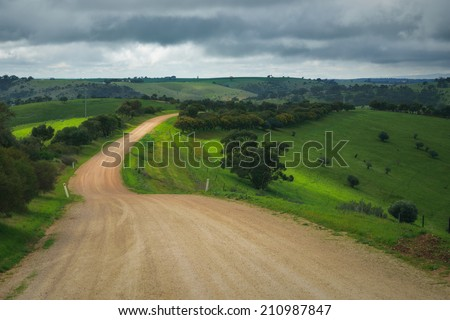 Dirt road in the Adelaide Hills - stock photo