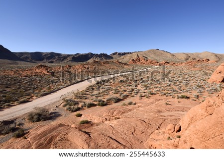 Dirt road in Valley of Fire State Park, Nevada. - stock photo