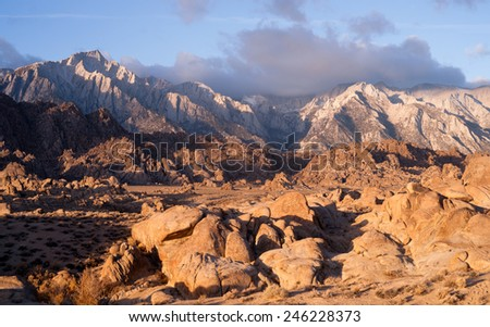 Dirt Road into Alabama Hills Sierra Nevada Range California - stock photo