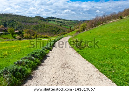 Dirt Road Leading to the Farmhouse in Tuscany, Italy - stock photo
