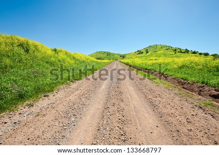 Dirt Road on the Golan Heights, Israel - stock photo