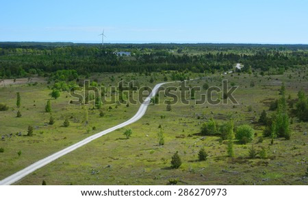 Dirt road on Torsburgen on the island of Gotland in Sweden - stock photo