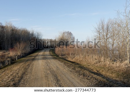 Dirt road passing through Hecla Grindstone Provincial Park, Manitoba, Canada - stock photo