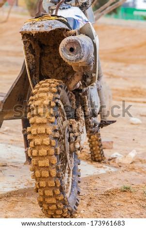 dirt wheel motorbike, sport background - stock photo