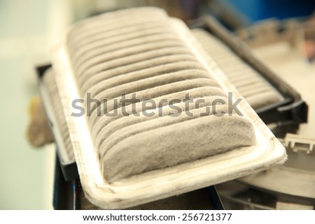 dirty air clean filter for car, automotive spare part - stock photo