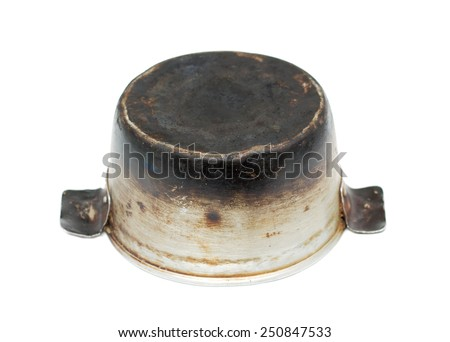 dirty aluminum pan on a white background - stock photo