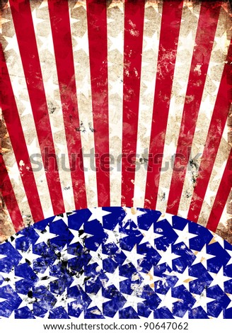 dirty american flag for a background - stock photo