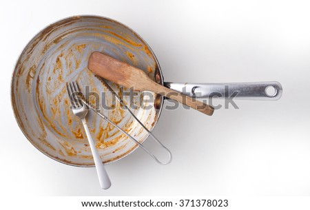 dirty and empty dishes. - stock photo