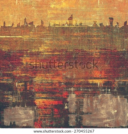 Dirty and weathered old textured background. With different color patterns: yellow (beige); brown; gray; red (orange) - stock photo