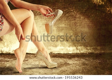 dirty background of wall and legs  - stock photo