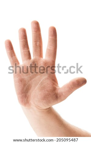 Dirty beggar or worker hand showing stop sign on white concept - stock photo