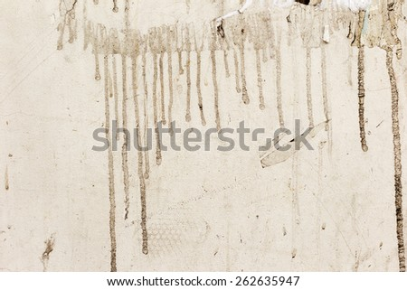 Dirty beige concrete wall with streaks of water, cracks and scratches. Grungy concrete surface. Great background or texture for your project. - stock photo