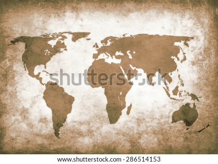 Dirty brown grunge world map - stock photo