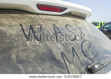 Dirty Car Window - stock photo