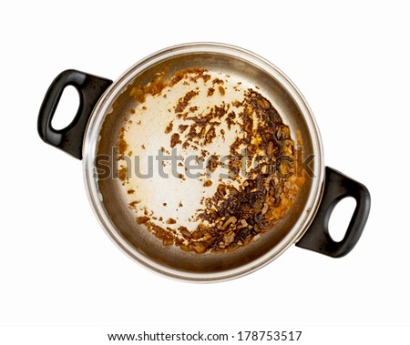 Dirty cooking pot on a white background. - stock photo