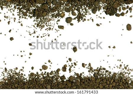 Dirty earth on white  background. Natural soil texture - stock photo
