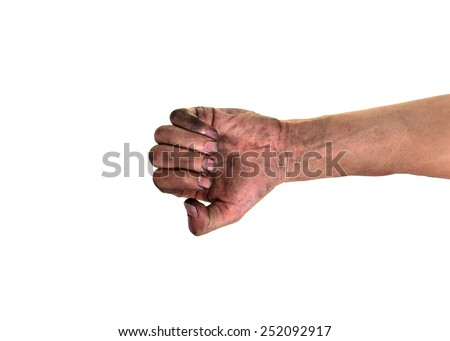 Dirty fingernails, His hands are dirty with dirt lodged in the nails,(concept for pathogens/ bacteria under nails) - stock photo