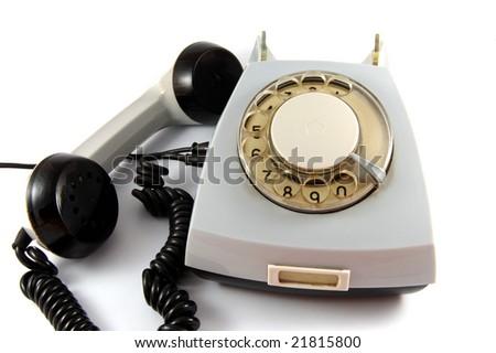 Dirty Grey retro Rotary Phone - stock photo