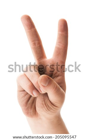 Dirty hand showing peace sign on white background - stock photo