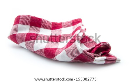 dirty kitchen cloth isolated on white background - stock photo