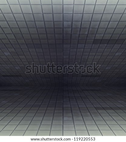 dirty modern interior with sloping ceiling - stock photo