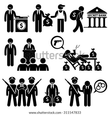 Dirty Money Laundering Illegal Activity Politic Crime Stick Figure Pictogram Icons - stock photo