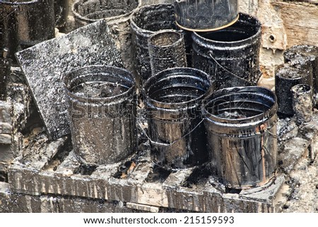 dirty oil petroleum barrel drum - stock photo