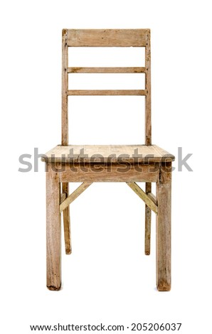 dirty old wooden chair isolated on white background - stock photo