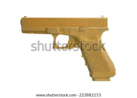 Dirty orange training gun isolated on white, law enforcement - stock photo