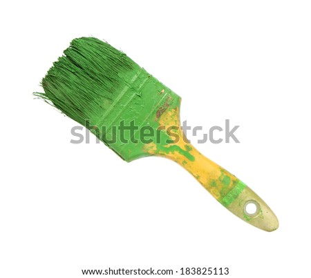 Dirty paint brush isolated on white background - stock photo
