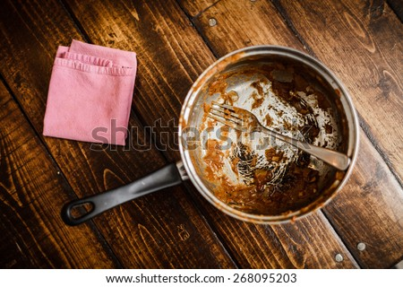 Dirty Pan After a Dinner on a Table. That was the meal of a Student or a teenager - stock photo
