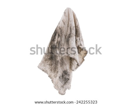 Dirty rag suspended isolated on white background - stock photo