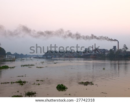 Dirty river in thailand province - stock photo