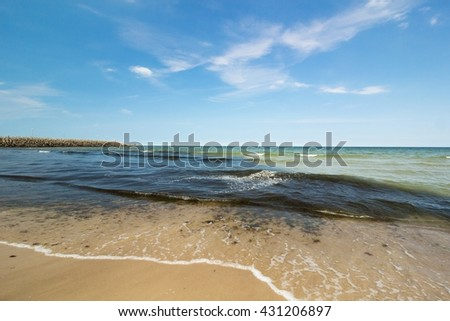 Dirty Sea pollution and foam - stock photo