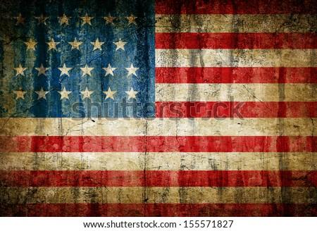 Dirty USA flag - stock photo