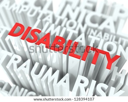 Disability Background Design. Word of Red Color Located over Word Cloud of White Color. - stock photo