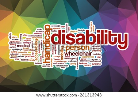 Disability word cloud concept with abstract background - stock photo