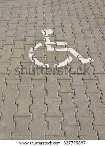 Disable driver sigh on parking lot. - stock photo