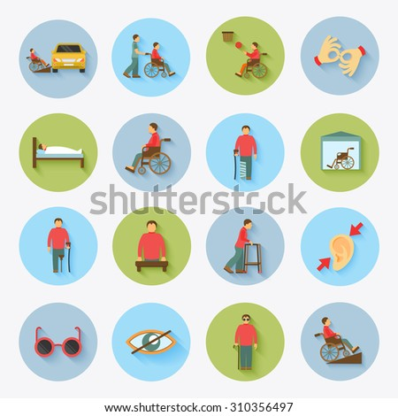 Disabled blind and deaf people care help assistance and accessibility flat icons set isolated  illustration - stock photo