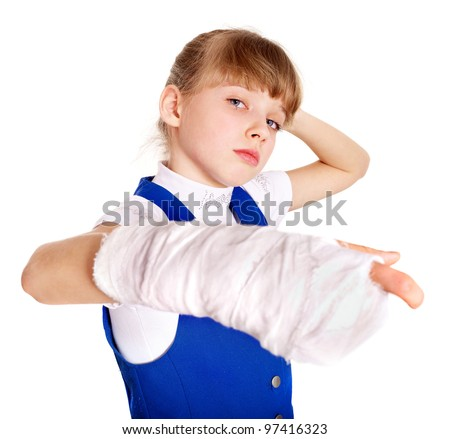 Disabled child with broken arm. Isolated. - stock photo