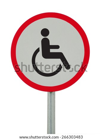 Disabled Handicap Icon road sign on white background - stock photo