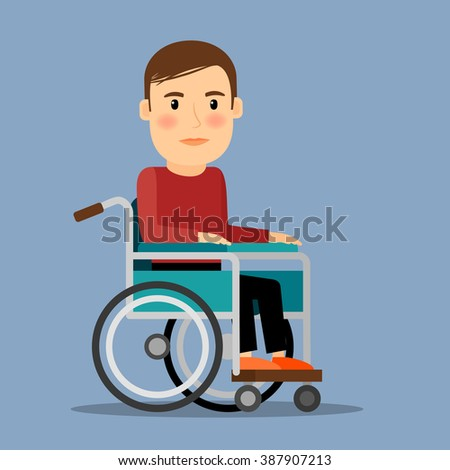 Disabled man sitting in wheel chair - stock photo
