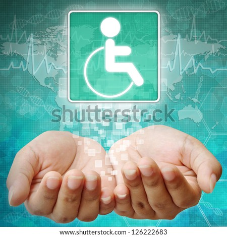 Disabled Symbol om hand,medical icon - stock photo