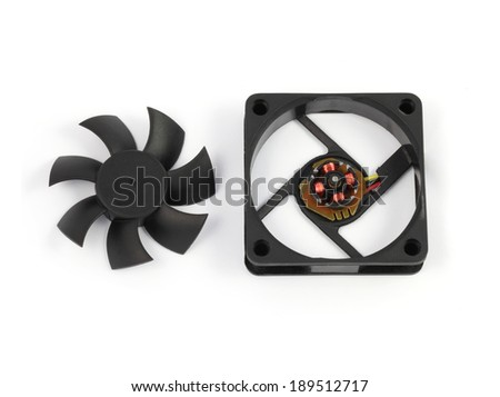 disassemble black computer fan on white background - stock photo
